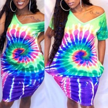 lovely Casual Tie-dye Multicolor Knee Length Plus Size Dress
