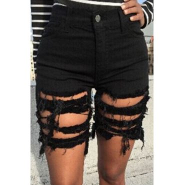 Lovely Leisure Hollow-out Black Shorts