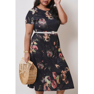 lovely Casual Print Black Mid Calf Plus Size Dress