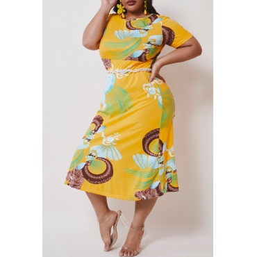 lovely Casual Print Yellow Mid Calf Plus Size Dress