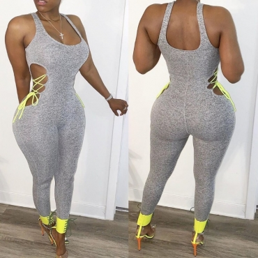 lovely Sexy Lace-up Grey One-piece Jumpsuit