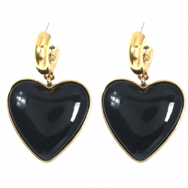 lovely Trendy Heart Black Earring