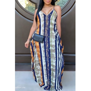 Lovely Casual Striped Print Blue Maxi Dress