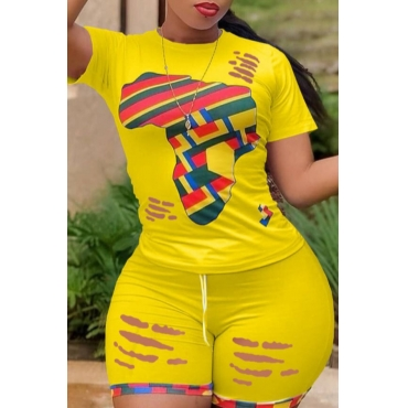 lovely Leisure Print Patchwork Yellow Two-piece Shorts Set