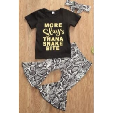 lovely Casual Letter Print Black Girl Two-piece Pants Set