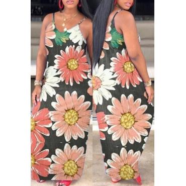 lovely Trendy Print Pink Maxi Dress