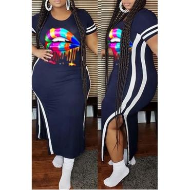lovely Casual Lip Print Dark Blue Ankle Length Plus Size Dress