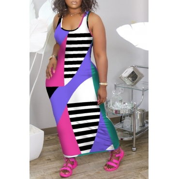 lovely Casual Color-lump Patchwork Multicolor Ankle Length Dress