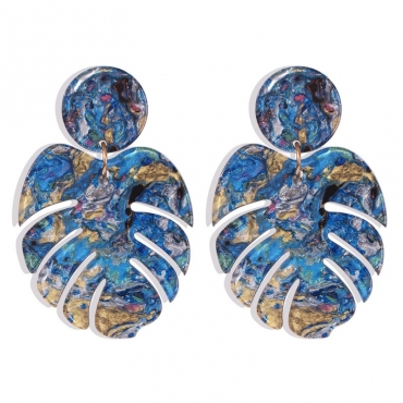 lovely Bohemian Leaf Blue Earring