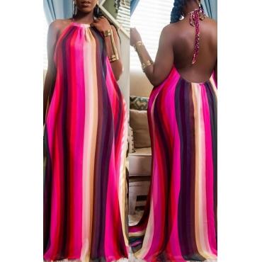 Lovely Stylish Striped Multicolor Maxi Plus Size Dress