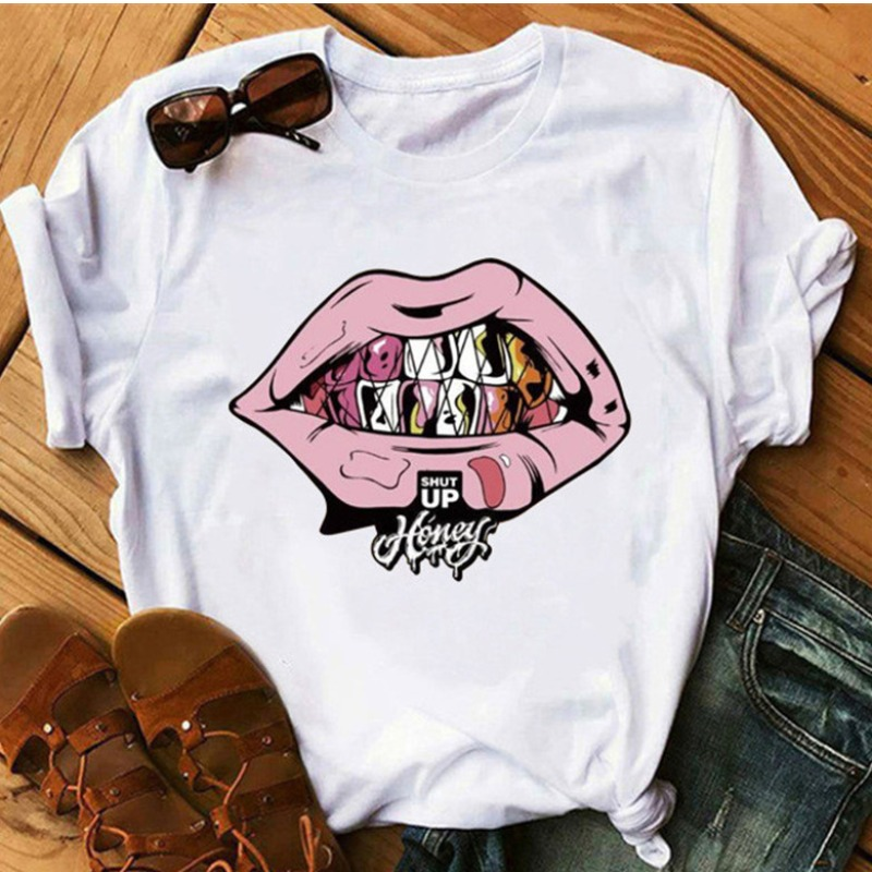 lovely Leisure O Neck Lip Print Pink Plus Size T-shirt