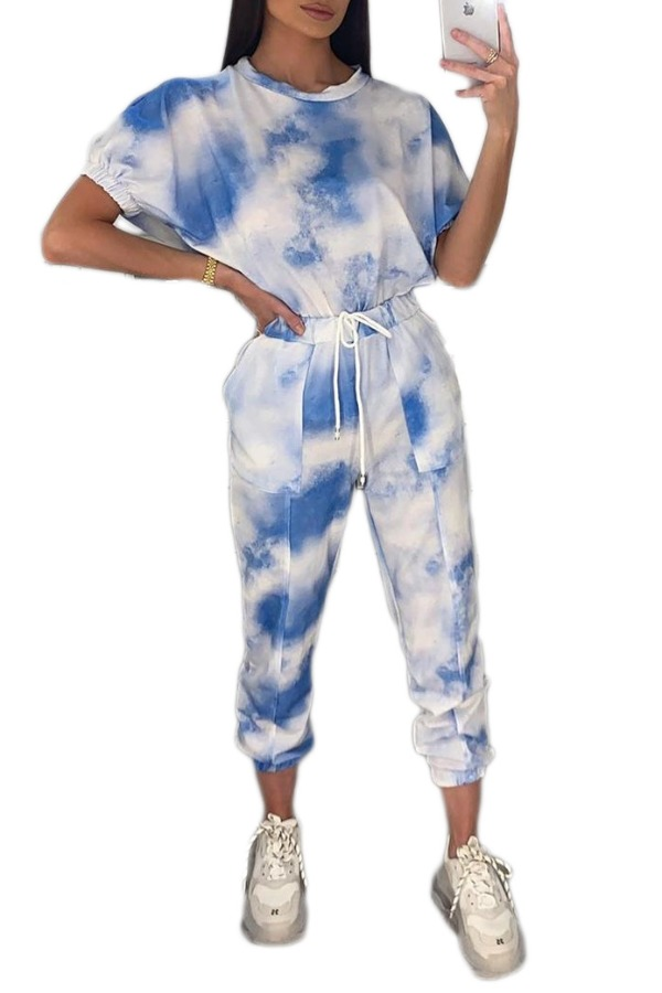 lovely Casual Tie-dye Blue Two-piece Pants Set