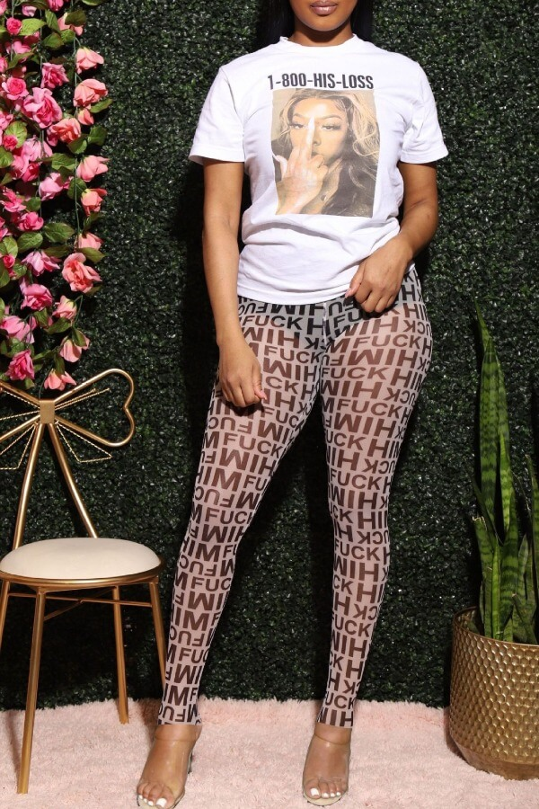 lovely Casual Letter Print White Two-piece Pants Set