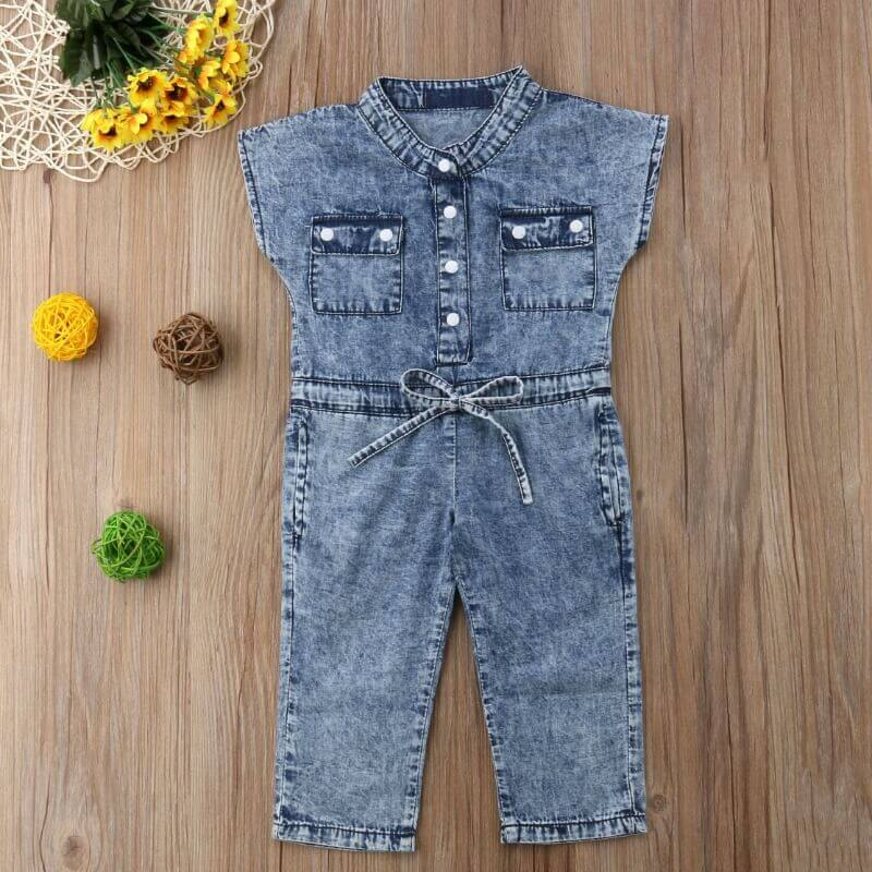 lovely Sweet Lace-up Baby Blue Girl One-piece Jumpsuit