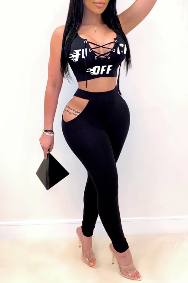 lovely Sexy Hollow-out Black Two-piece Pants Set