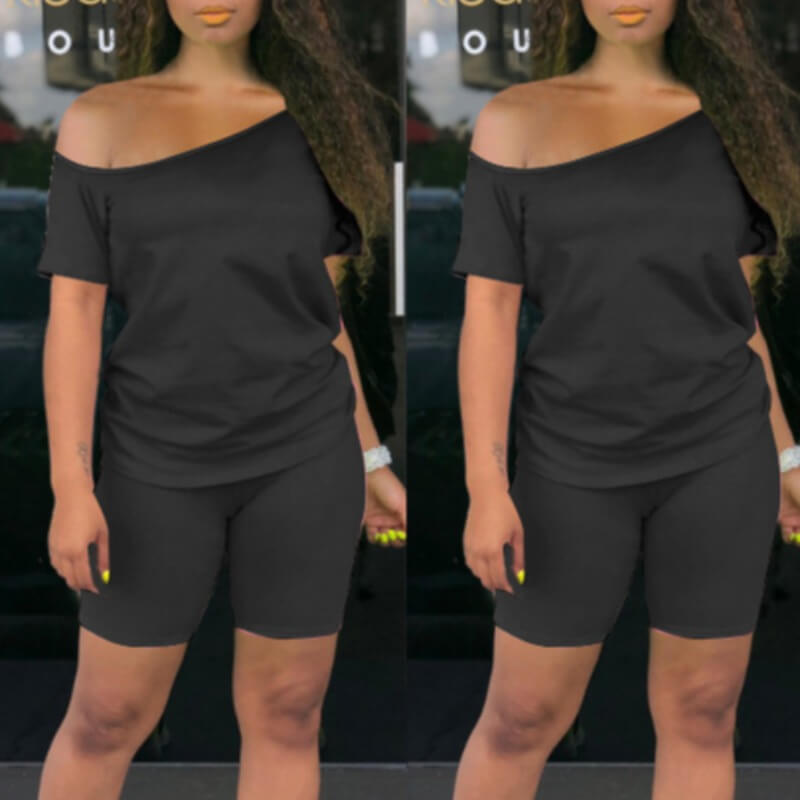 Lovely Casual Off The Shoulder Black Two-piece Shorts Set фото