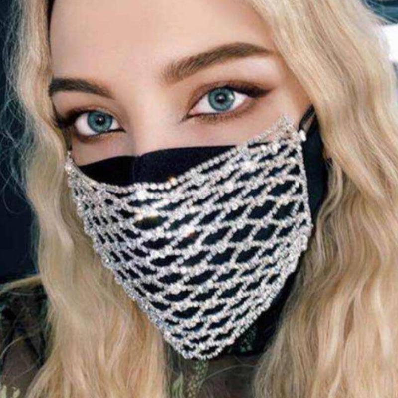 Lovely Sweet Rhinestone Decorative White Face Mask фото