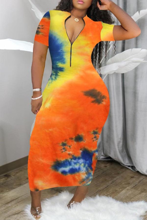 Daily Dress Lovely Casual V Neck Tie-dye Ankle Length Dress фото