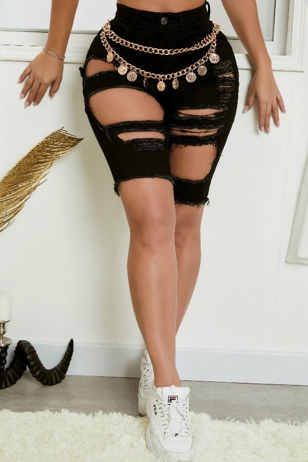 Lovely Casual Broken Holes Zipper Black Denim Shorts