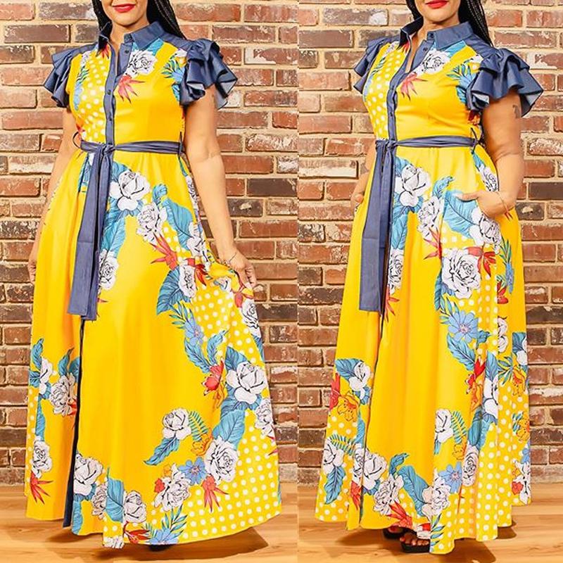 Plus Size Dress lovely Stylish Print Patchwork Yellow Plus Size Maxi Dress фото