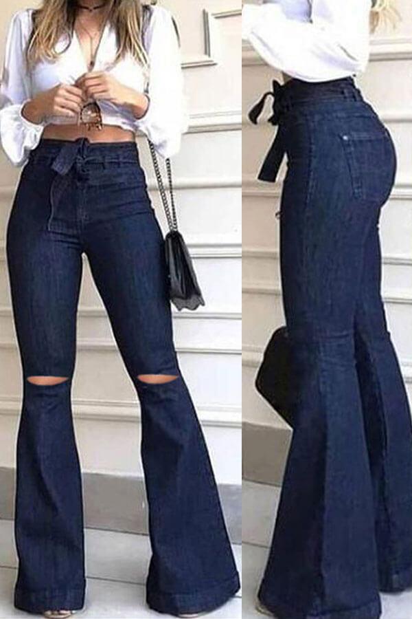 lovelywholesale / Lovely Casual High-waisted Zipper Broken Holes Deep Blue Jeans