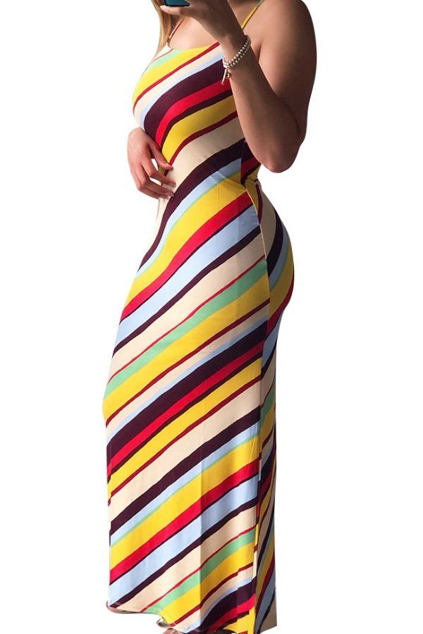 Lovely Casual Spaghetti Strap Striped Print Multicolor Plus Size Maxi Dress