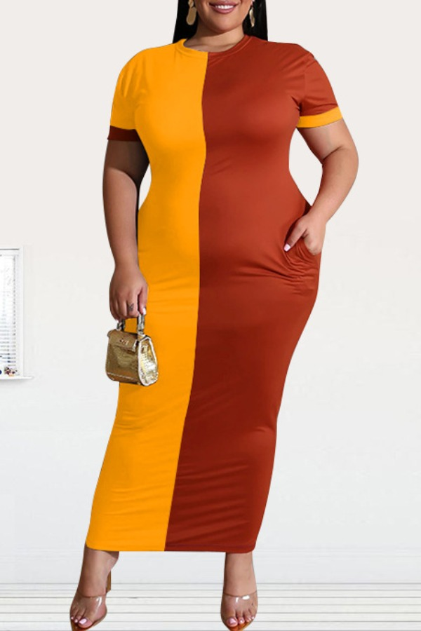 Lovely Casual Patchwork Yellow Ankle Length Plus Size Dress фото
