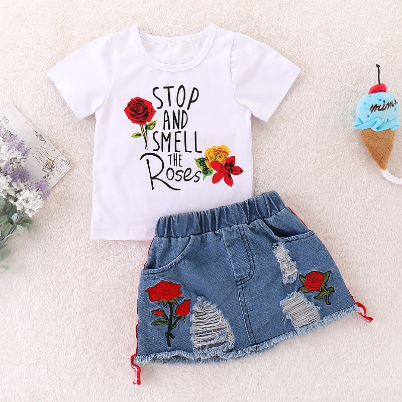 Girls Two-piece Skirt Set lovely Casual Letter Print White Girl Two-piece Skirt Set фото