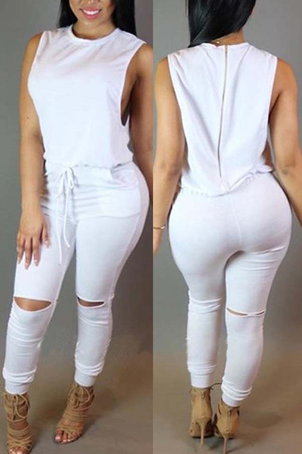 Lovely Casual Hollow-out White One-piece Jumpsuit фото