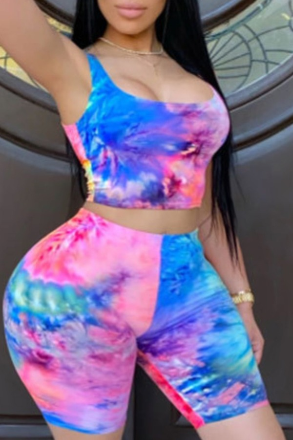 Lovely Leisure Tie-dye Blue Plus Size Two-piece Shorts Set фото