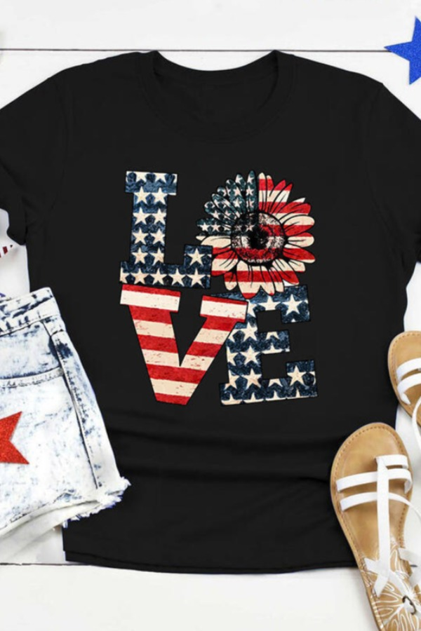 Lovely Independence Day Casual Letter Print Black T-shirt фото