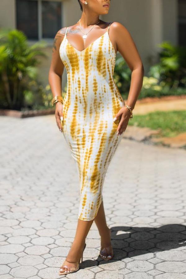 Lovely Sexy Print Yellow Mid Calf Dress фото