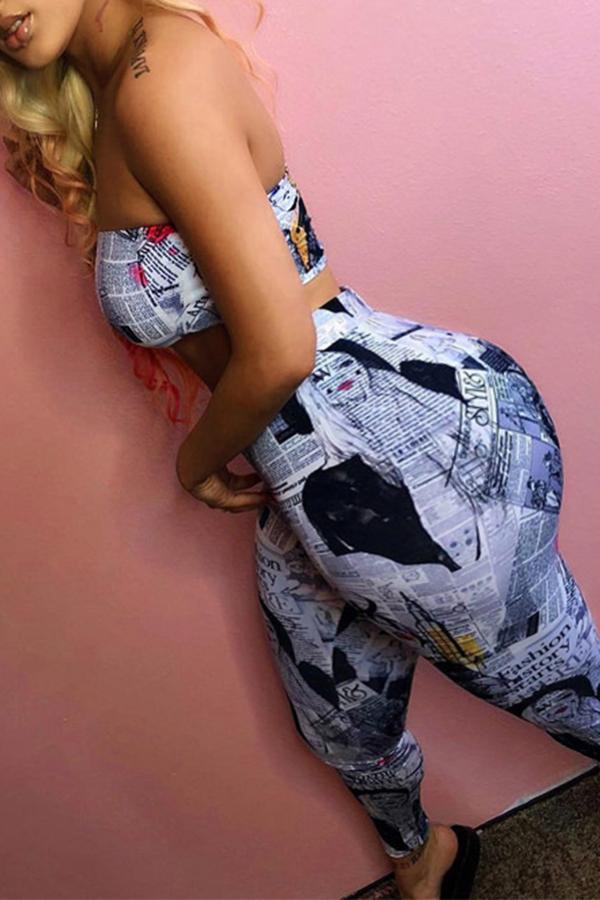 Lovely Sexy Dew Shoulder Print Multicolor Plus Size Two-piece Pants Set фото