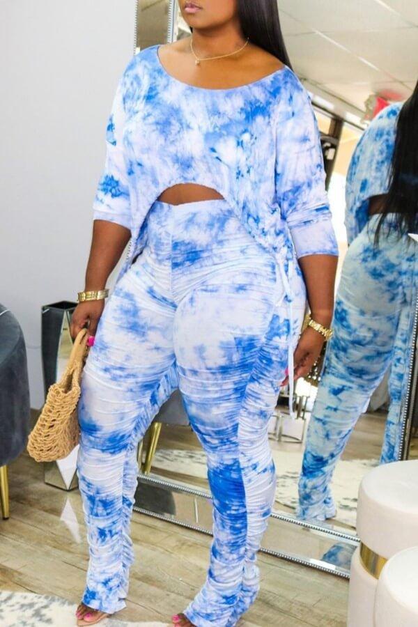 LW Casual Tie Dye Asymmetrical Blue Two Piece Pants Set