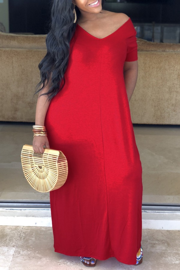 Lovely Casual V Neck Red Maxi Plus Size Dress фото