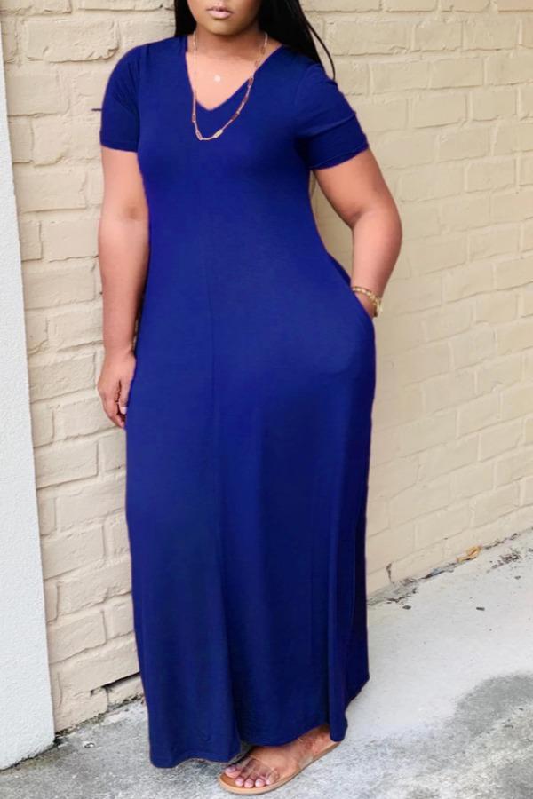 lovely Casual V Neck Basic Blue Ankle Length Plus Size Dress