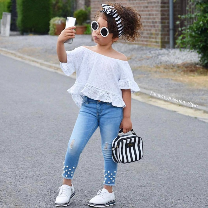 Girls Two-piece Pants Set lovely Casual Off The Shoulder White Girl Two-piece Pants Set фото