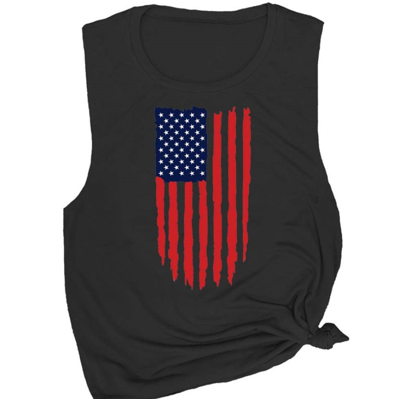 Camisole&Tank Top lovely Independence Day Casual O Neck Print Black Camisole фото