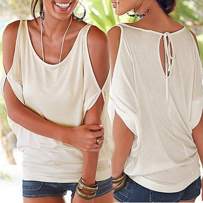 Blouses&Shirts Lovely Casual U Neck Dew Shoulder White Blouses фото