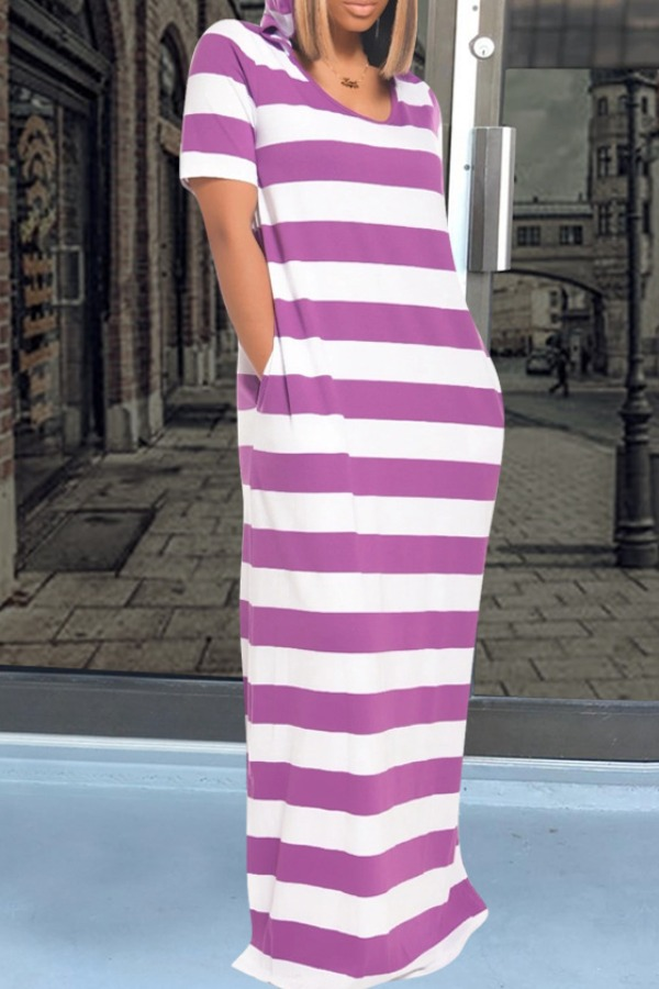 Lovely Casual Striped Purple Maxi Dress фото