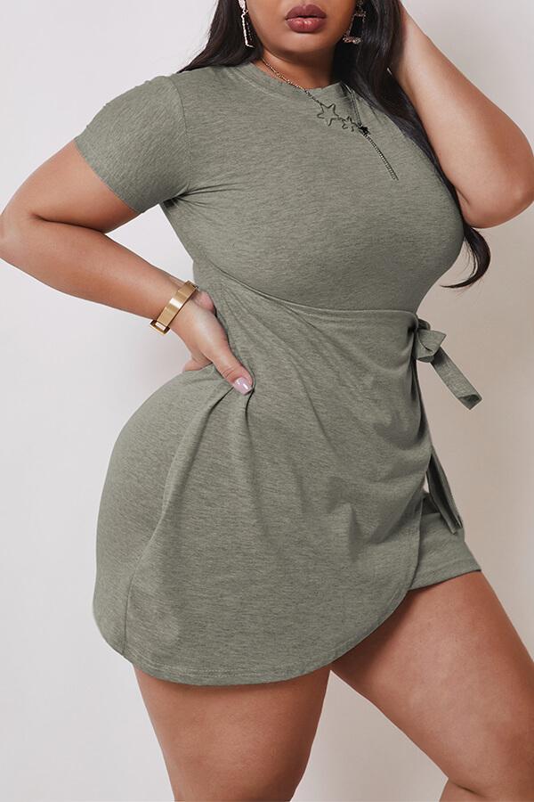 Lovely Casual Asymmetrical Grey Mini Plus Size Dress фото