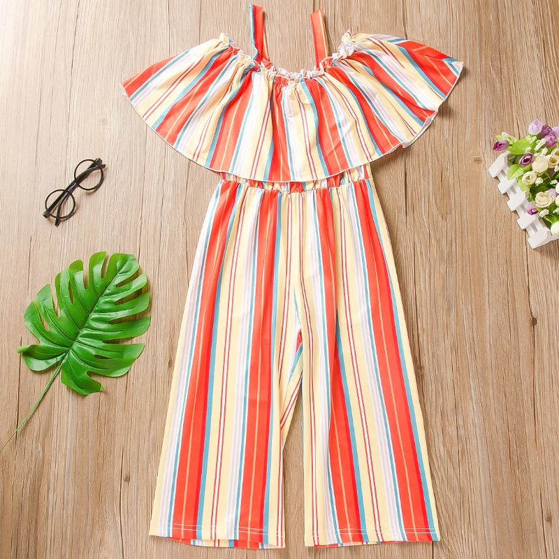 Girls Jumpsuit lovely Trendy Striped Red Girl One-piece Jumpsuit фото