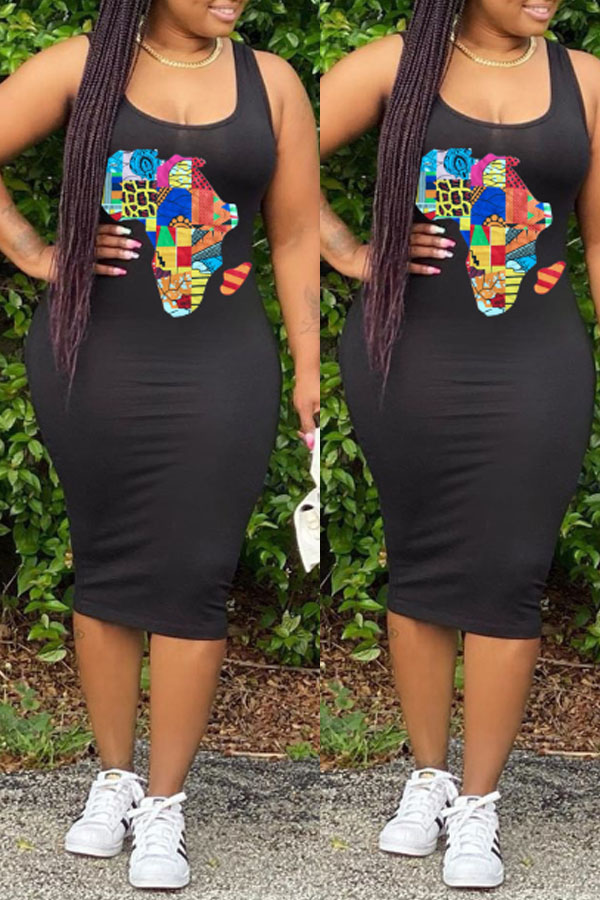 Lovely Casual Print Black Knee Length Dress фото