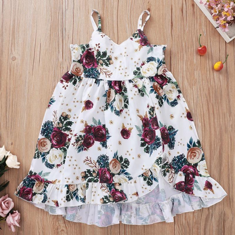 Girls Dress lovely Bohemian Floral Print White Girl Mid Calf Dress фото