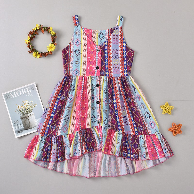 Girls Dress lovely Bohemian Print Multicolor Girl Knee Length Dress фото