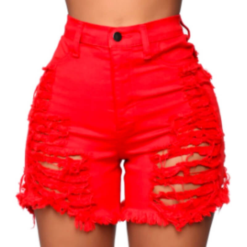 Lovely Stylish Hollow-out Red Denim Shorts фото