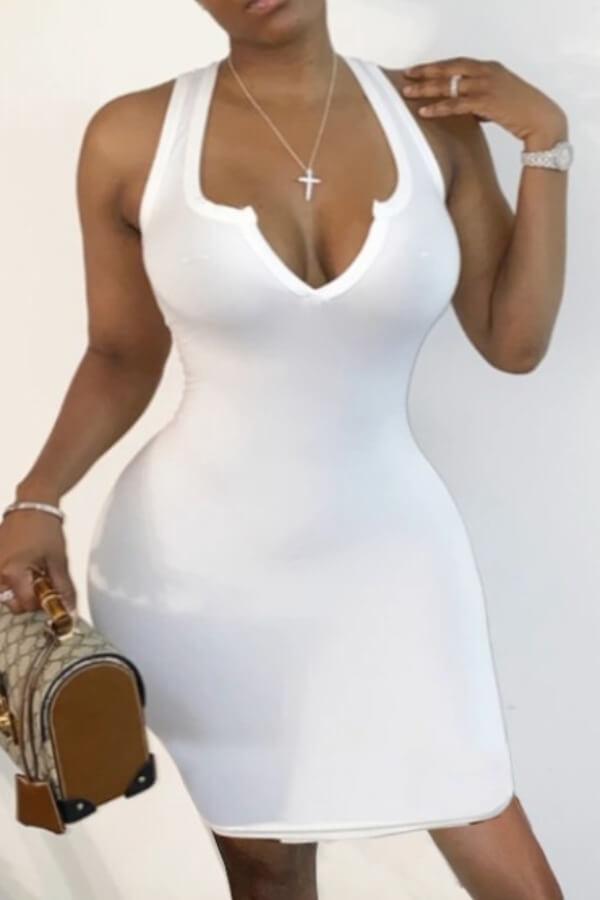 Lovely Sexy V Neck Skinny White Knee Length Dress