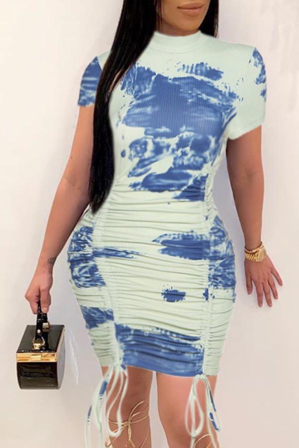 Lovely Stylish Tie-dye Blue Mini Dress фото