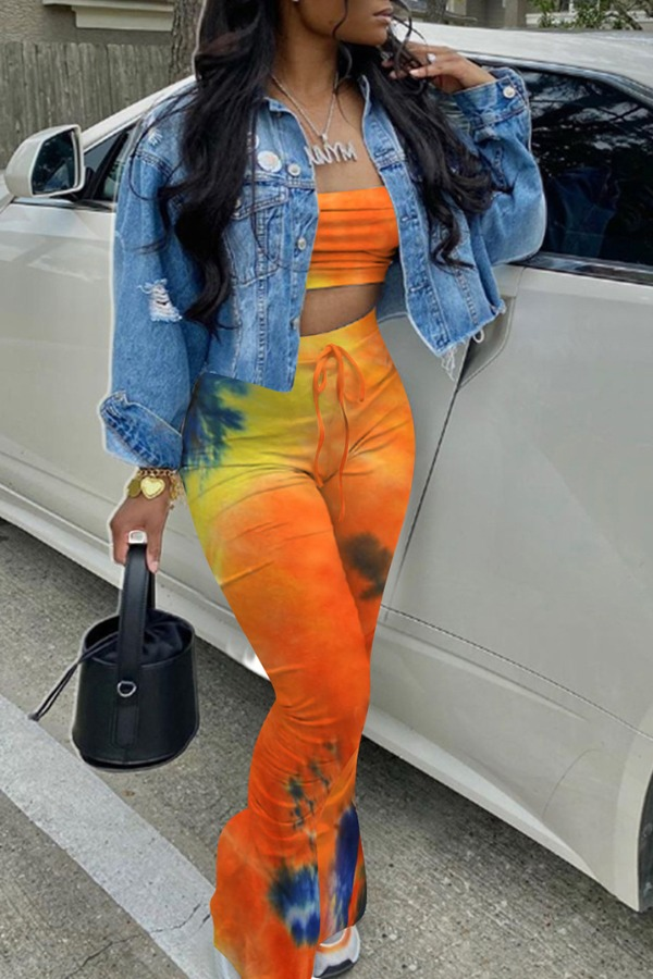 LW Trendy Tie Dye Orange Two Piece Pants Set