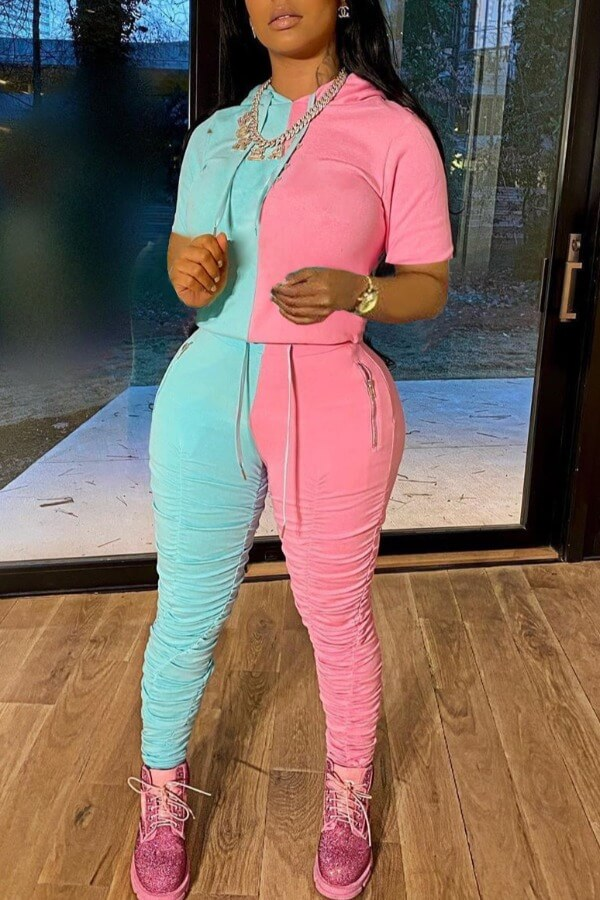 Lovely Leisure Fold Design Patchwork Pink Two-piece Pants Set фото